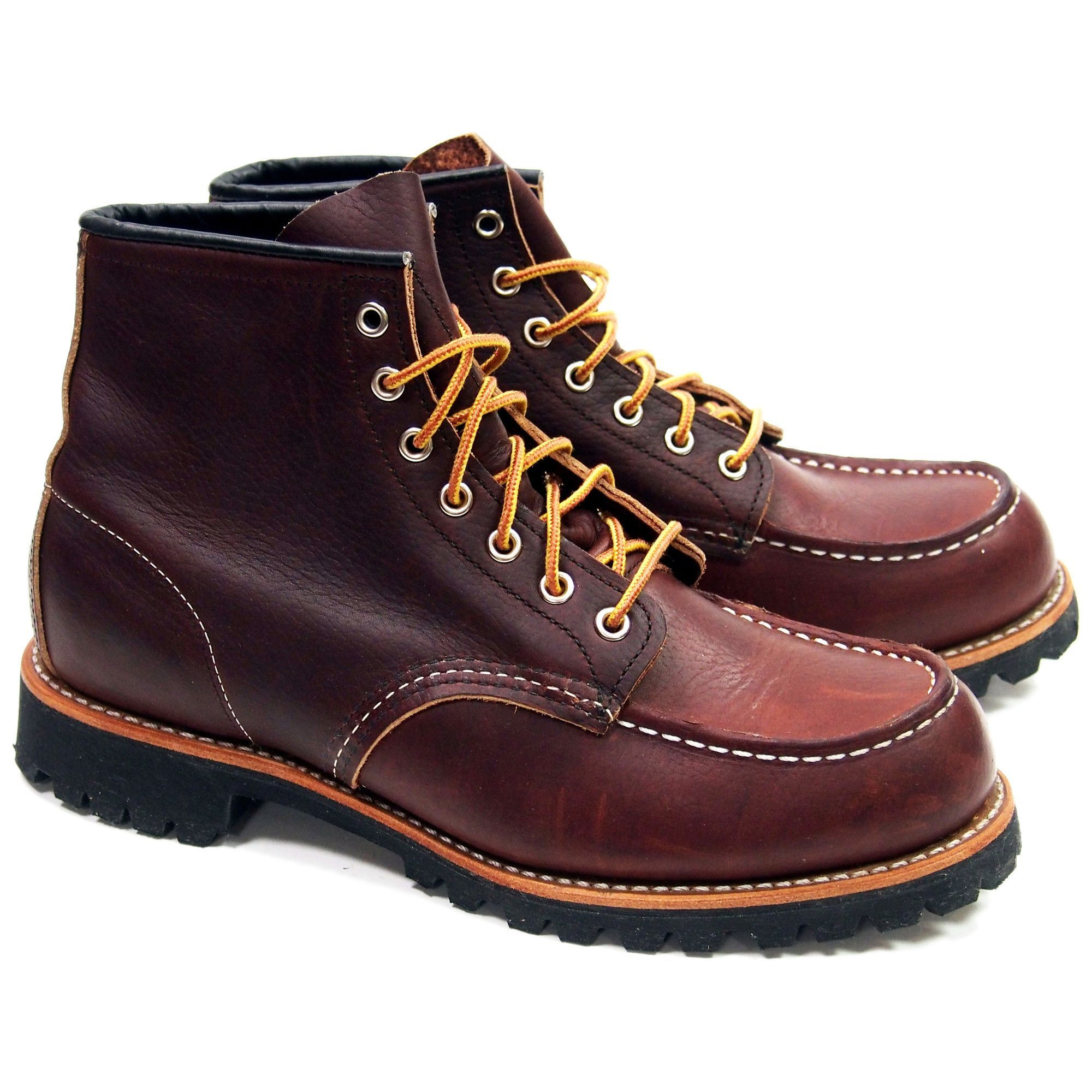 STYLE NO. 8146 : ROUGHNECK Modeled after Red Wing's original work boot style, the 8146 is a 6-Inch Moc Toe featuring Briar Oil Slick leather, Vibram Lug outsole, triple stitched quality and Goodyear w