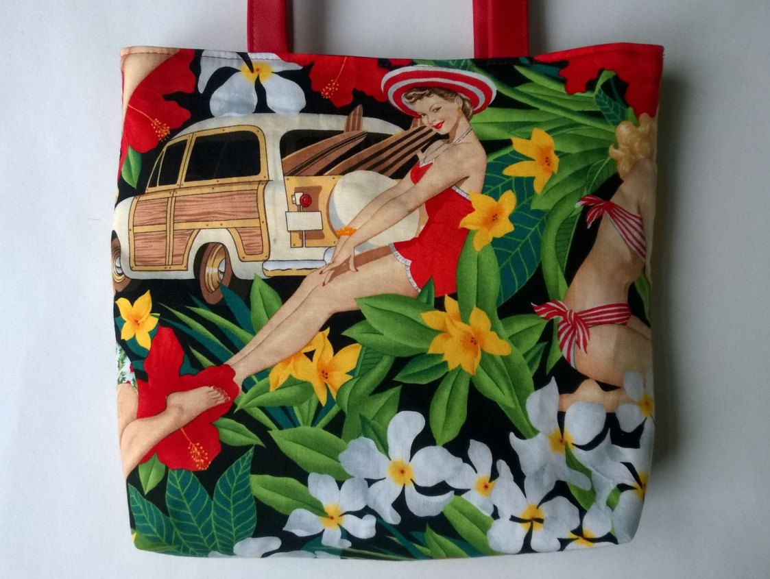 394ffd91d Pin Up Aloha Girls Faux Vegan Leather Tote Bag | Tote Bags | Shopper ...