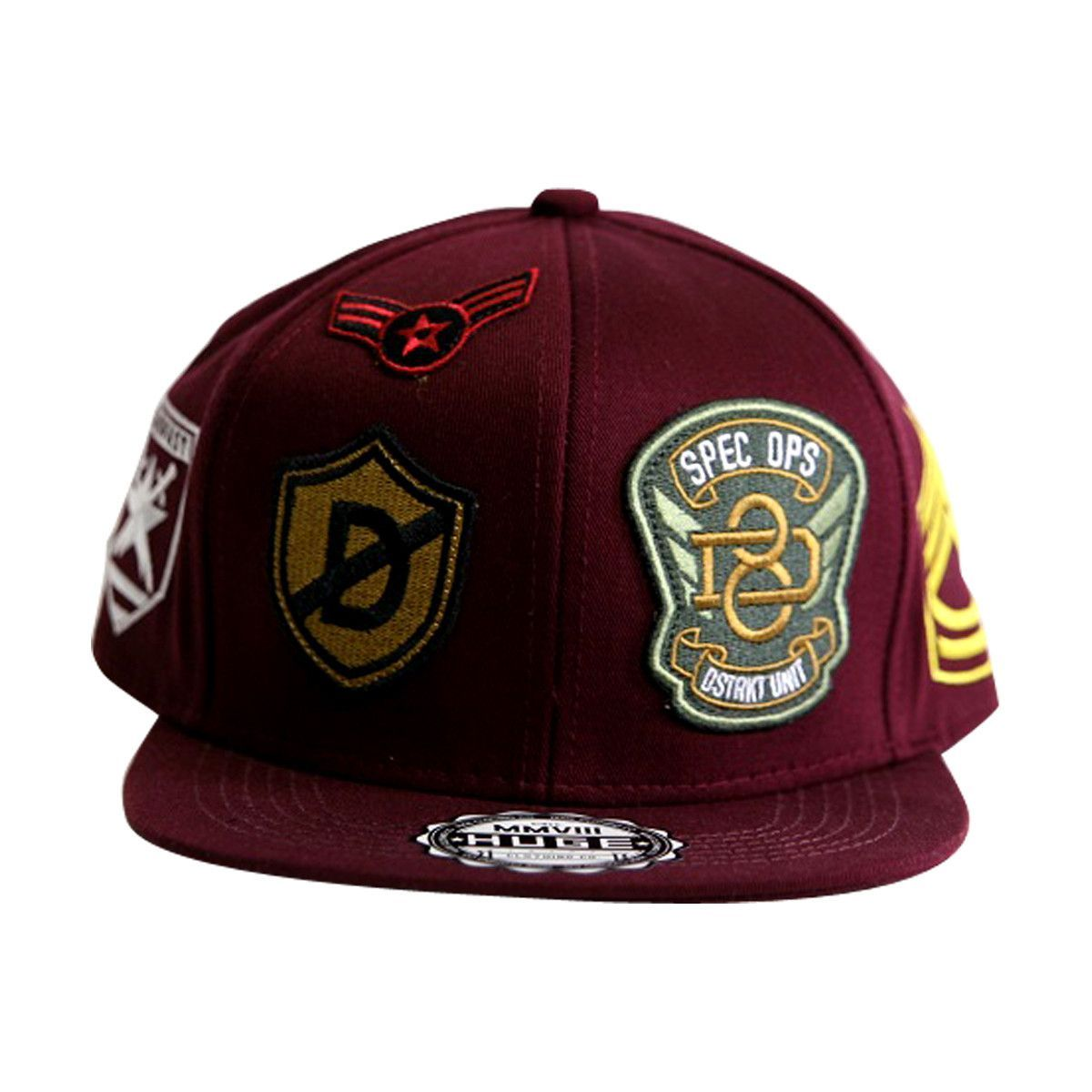 Huge New York - Army Patches Snapback Caps - Burgundy