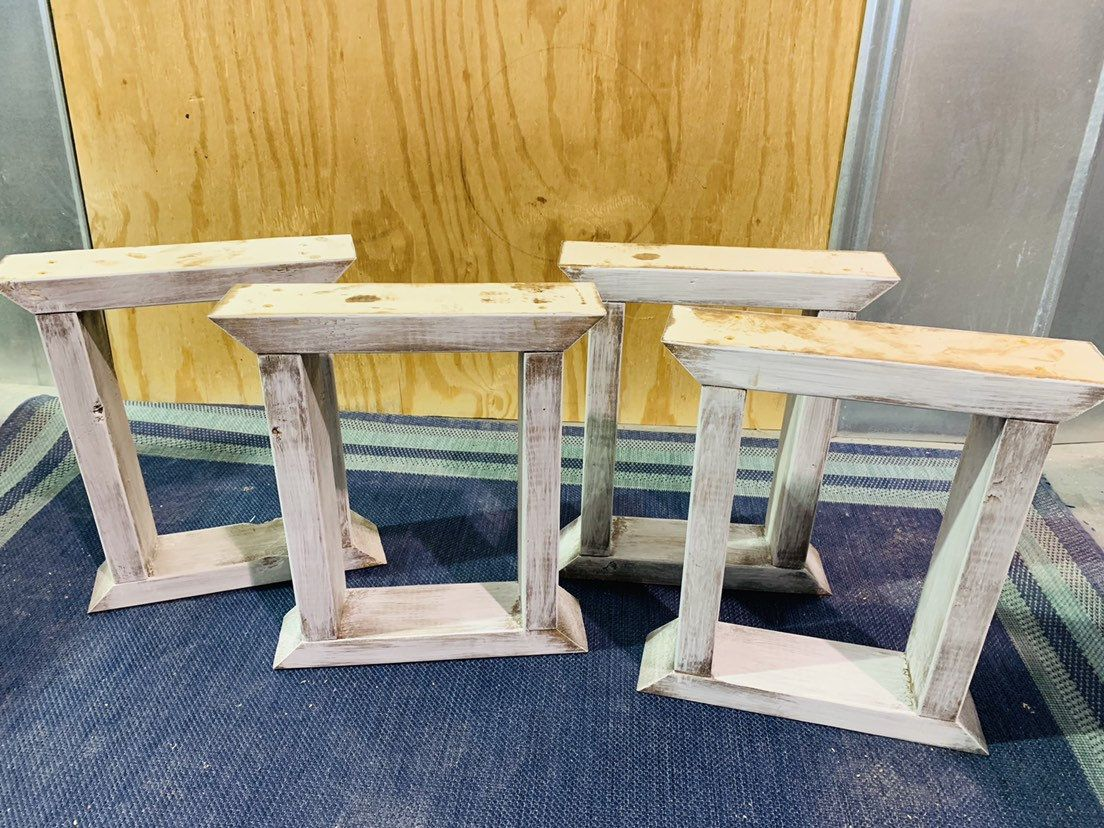 Diy Bench Leg Set Antique White Distressed Trestle Style Etsy Diy Table Legs Diy Bench Diy Coffee Table