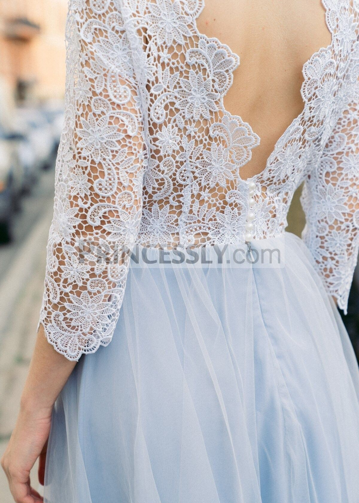 Wedding dress with long sleeves  Lace Tulle Long Sleeves V Back Wedding Dress Bridal Gown  Lace
