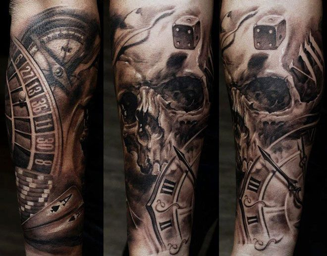 casino skull tattoo by dmitriy samohin oberarm tattoos. Black Bedroom Furniture Sets. Home Design Ideas