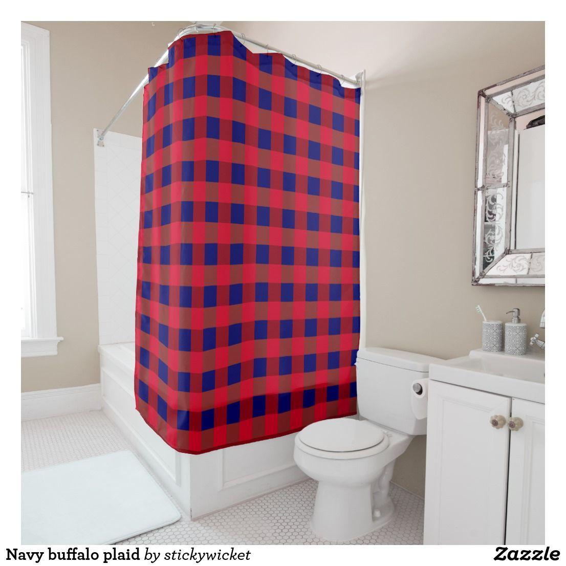 Red Black Rustic Buffalo Plaid Checkered Shower Curtain