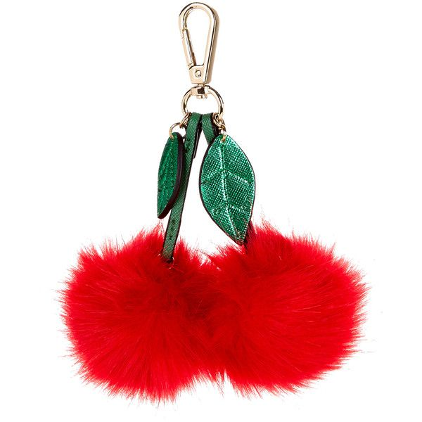 Accessorize Cherry Pom-Pom Bag Charm (€5,96) ❤ liked on Polyvore featuring accessories, fillers, misc, decor, keychain and pom pom key chain