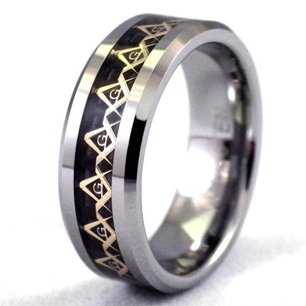 Men s Tungsten Gold Masonic Black Carbon Fiber Mason Ring made
