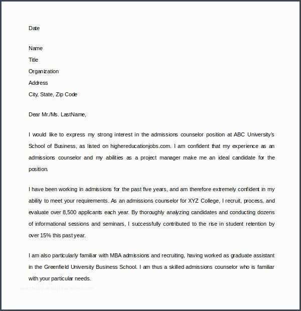 niceadmission counselor cover letter