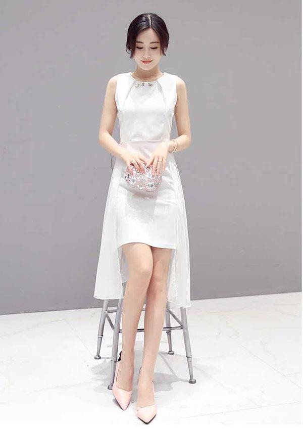 Dress Pesta Depan Pendek Belakang Panjang Tanpa Lengan A3394 1