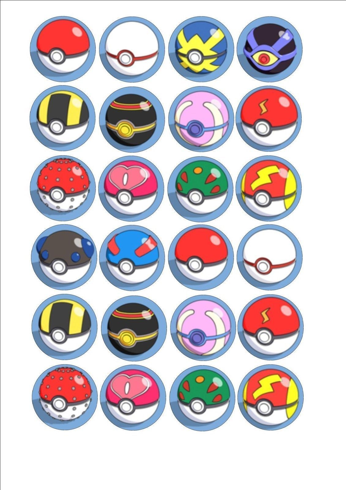 Pokemon Mixed Pokeball Edible Fairy Cup Cake Decoration Toppers Rice Paper X 24