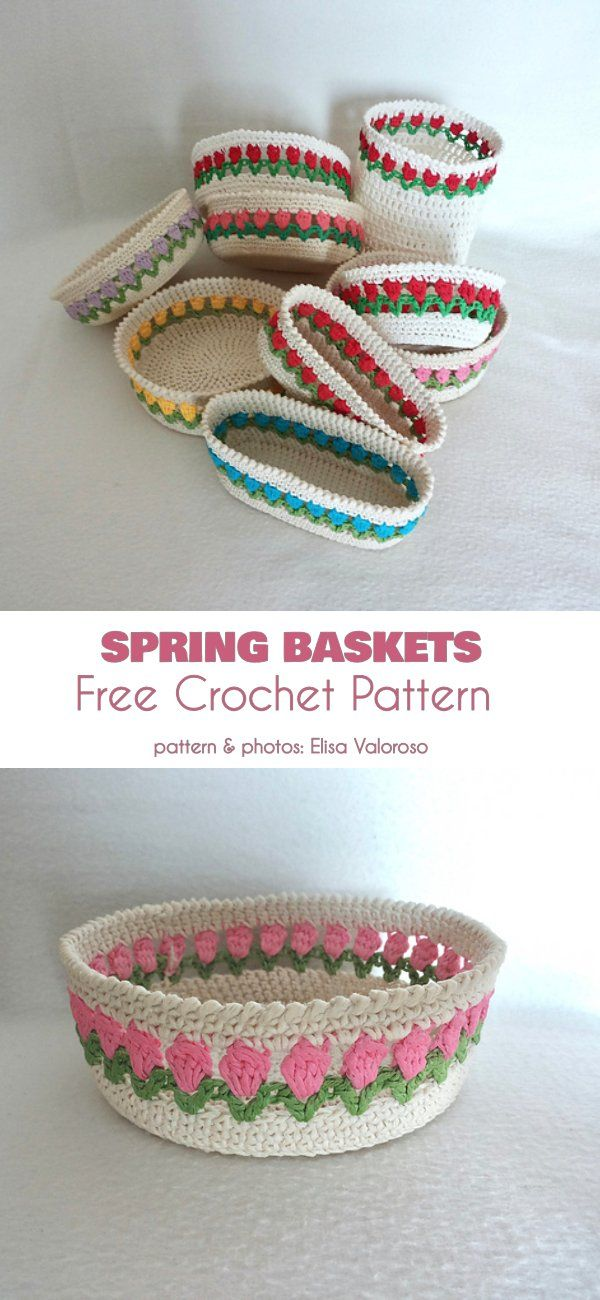Spring Basket Free Crochet Pattern #eastercrochetpatterns