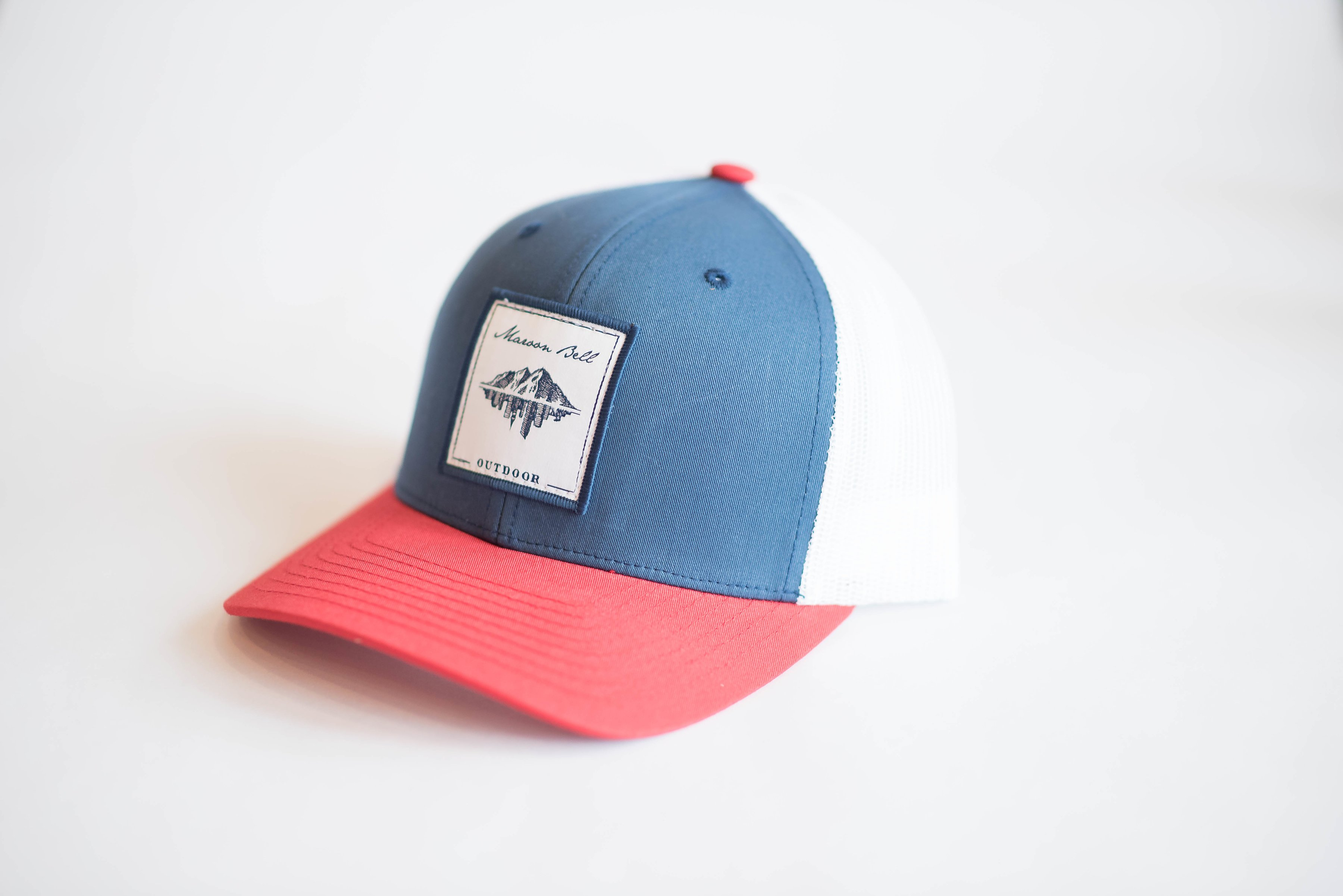 Olympic Red White   Blue Trucker w  Leather   Embroidered Patch 2f02f3f92b4