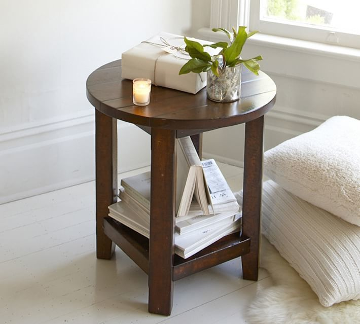 Pottery Barn Benchwright Round Side Table Rustic Mahogany - Pottery barn round end table