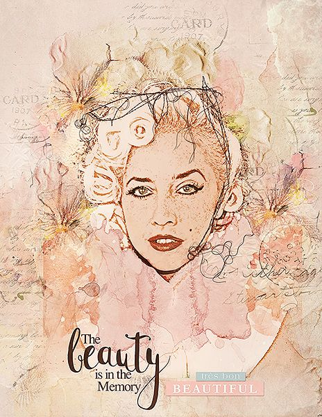 The beauty is in the memory is an artsy digital scrapbook/portrait page that I (Margje) made with:   ArtsyTransfers Tres Bon   ArtPlay Palette Tres Bon   Tres Bon WordART Mix No. 1   UrbanStitchez Leaves No. 3   All Anna Aspnes