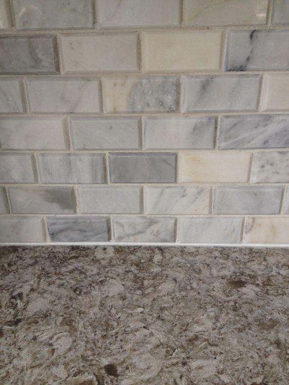 Tile Carrera Marble Beveled Subway Backsplash And Quartz Cambria