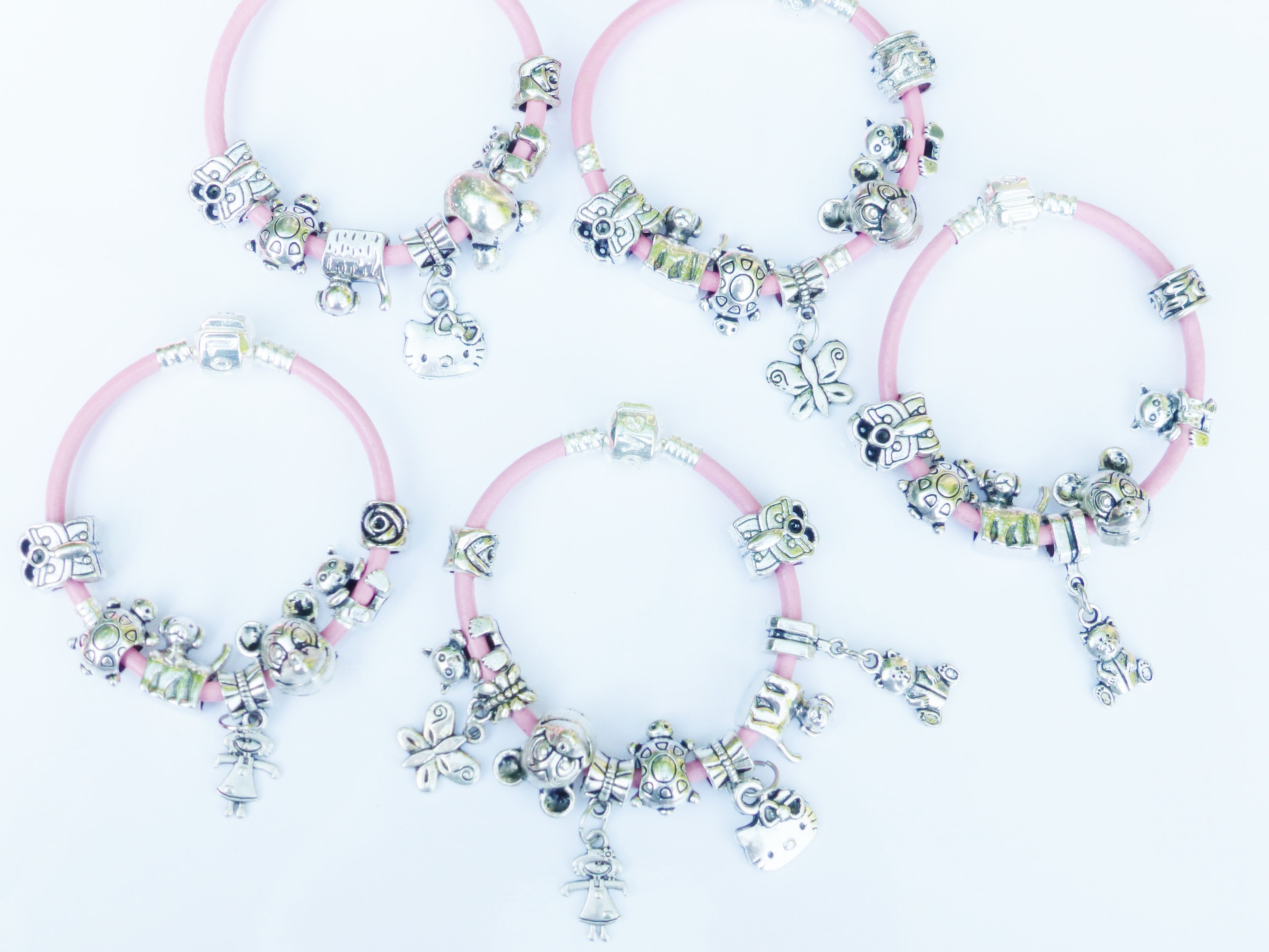 Pink Silver Colour Childrens Charm Bracelet For Little S To Purchase