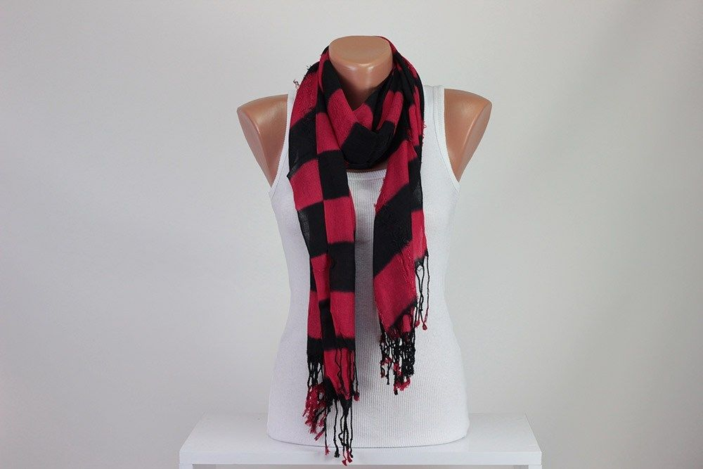 Rugby Red & Black Striped Scarf Tassel Scarf Tear Unisex Scarf Shawl