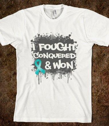 Ovarian Cancer I Fought Conquered Won Shirts by hopedreamsdesigns.com #ovariancancer #ovariancancerawareness #ovariancancershirts