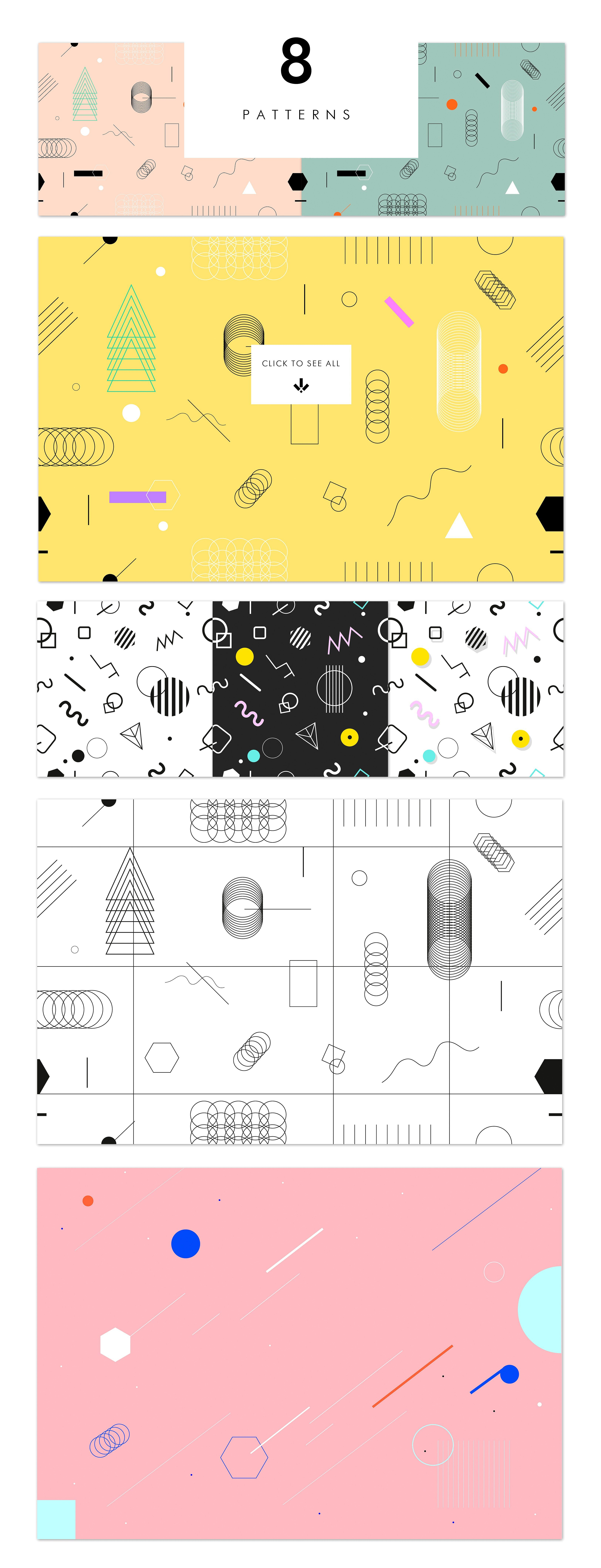 Holographic backgrounds + patterns - Get the biggest trend in visual design now! 12 holographic backgrounds + surreal 5 posters and 8 geometric seamless patterns ( NOT mock ups ). Transport yourself back to the future - it's a mix of 80's, 90's and futuristic retro-style. Gradients, holographic lights and geometric shapes! By PonyHead $12 #affiliatelink