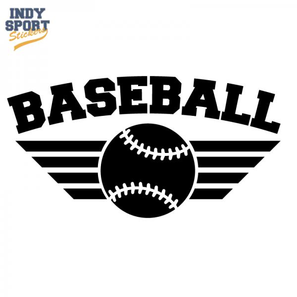 Baseball With Wings Silhouette Baseball Vinyl Decal Softball Sticker Custom Softball