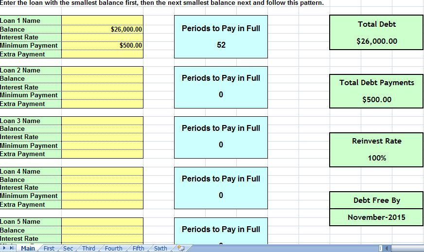 debt snowball consolidation calculator excel spreadsheet debt