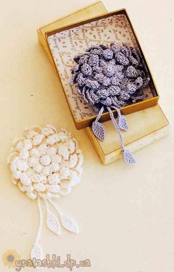 Crochet Brooch Pattern Crochet Motifs Flowers Pinterest