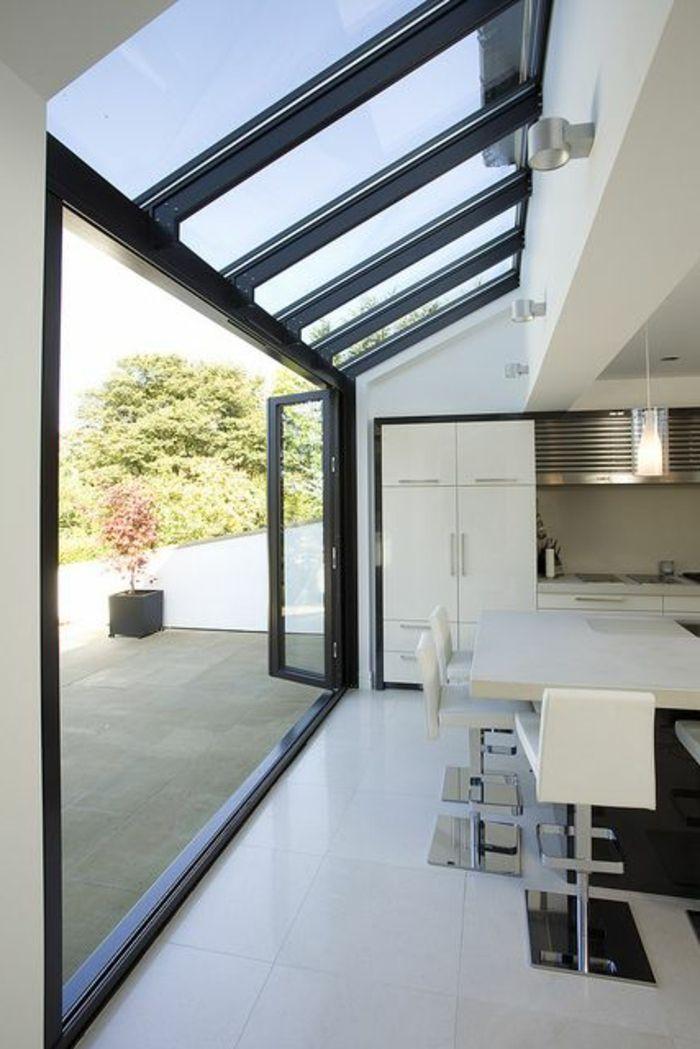 El Anadido De Ventanas En Diagonal Para La Oficina O Cocina Casas De Vidrio Extensiones De Casas Extensiones De Cocina