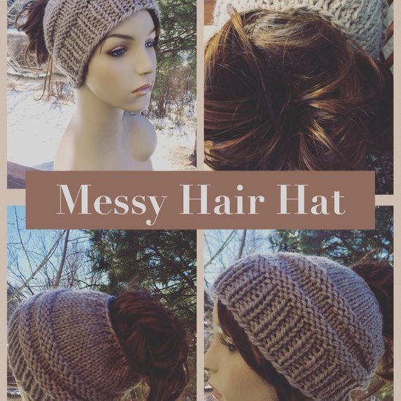 Knit Bun Hat Pattern, Messy Bun Hat Pattern, Knitting Pattern, Messy Bun Hat, Ponytail Hat, Ladies Winter Hat Pattern, Ladies Bun Hat #messybunhat