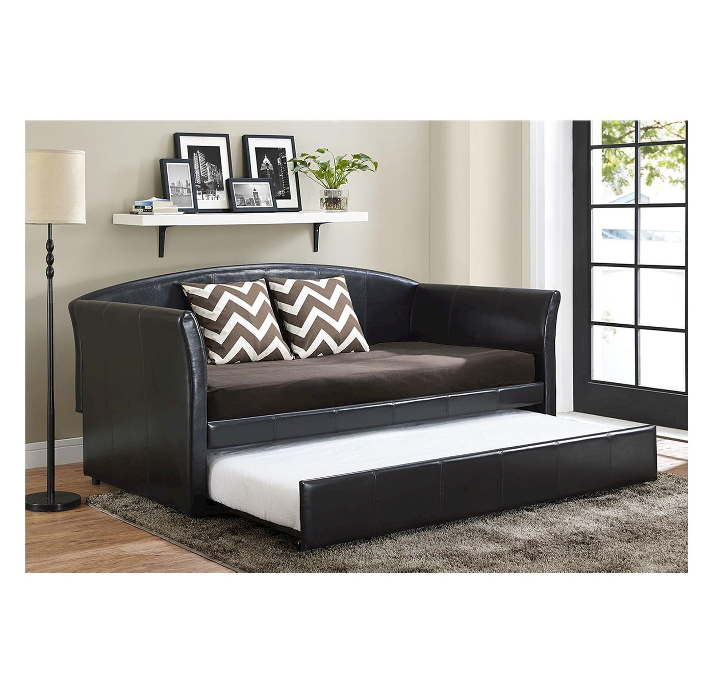 - Halle Upholstered Daybed And Trundle Twin Brown/Black - Dorel Home