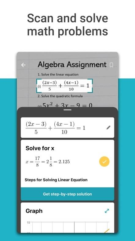 دانلود برنامه حل مسائل ریاضی مایکروسافت برای اندروید Microsoft Math Solver Math Solver Solving Linear Equations Math