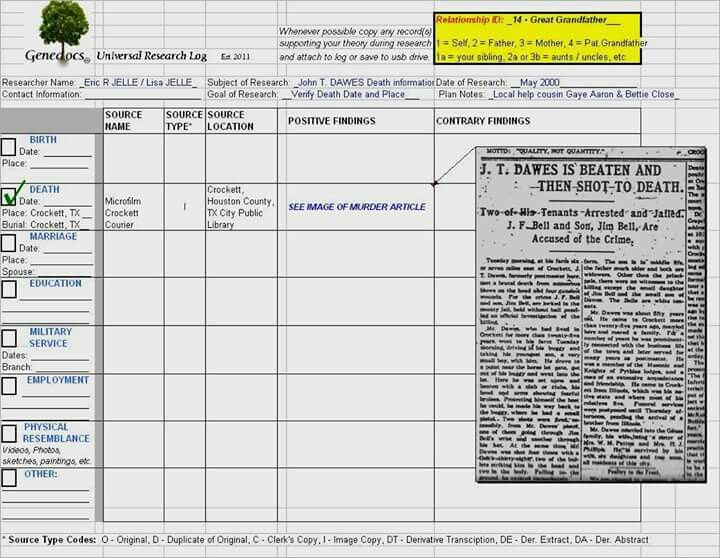Example Universal Research Log  Genealogy Forms