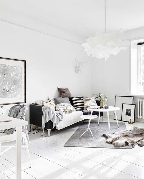 Delightful One Room Scandinavian Apartment With Bright Interiors Living Room Scandinavian Small Room Design Scandinavian Design Living Room