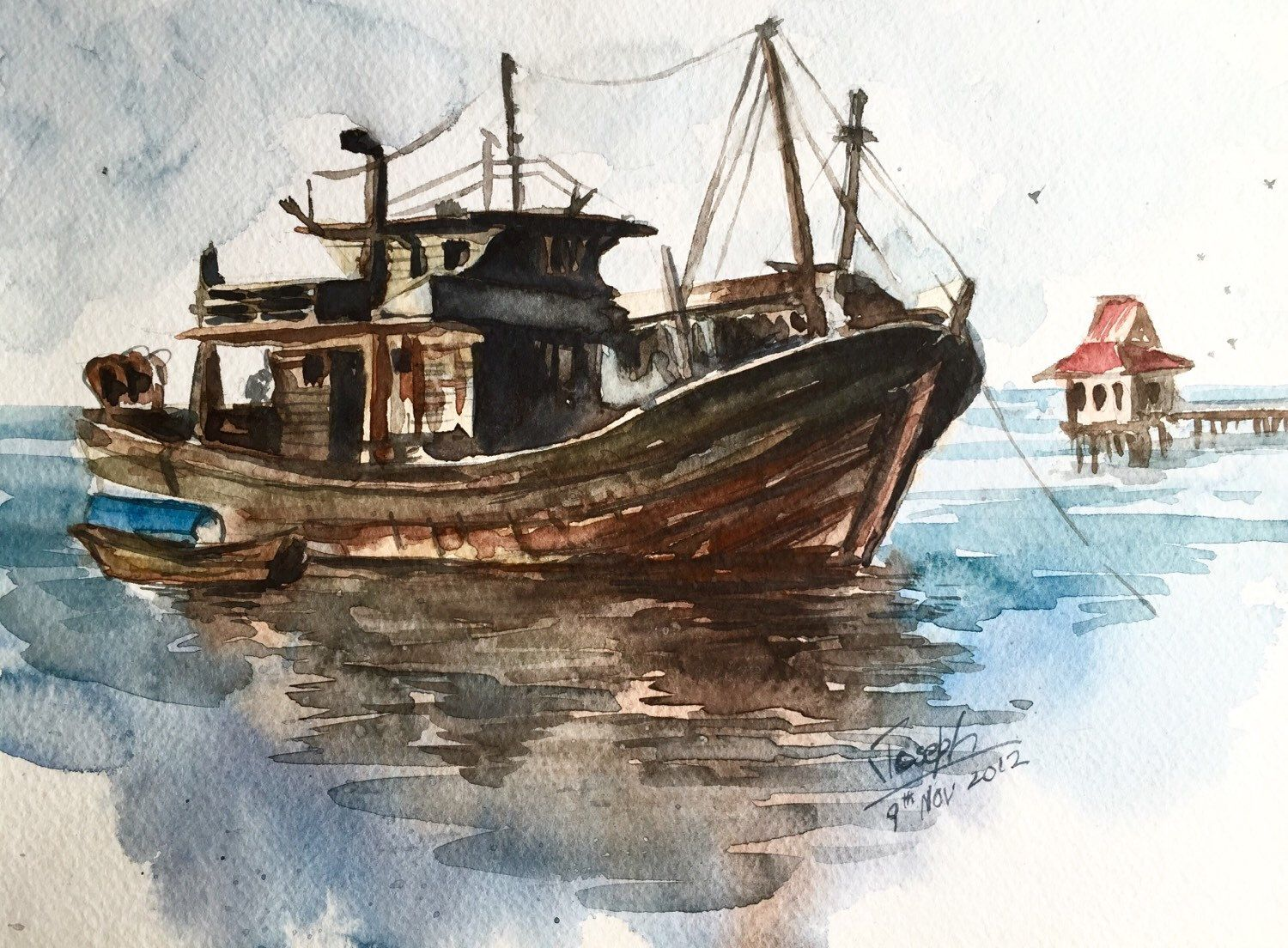 Boat Painting Fishing Boat Watercolors Paintings Original