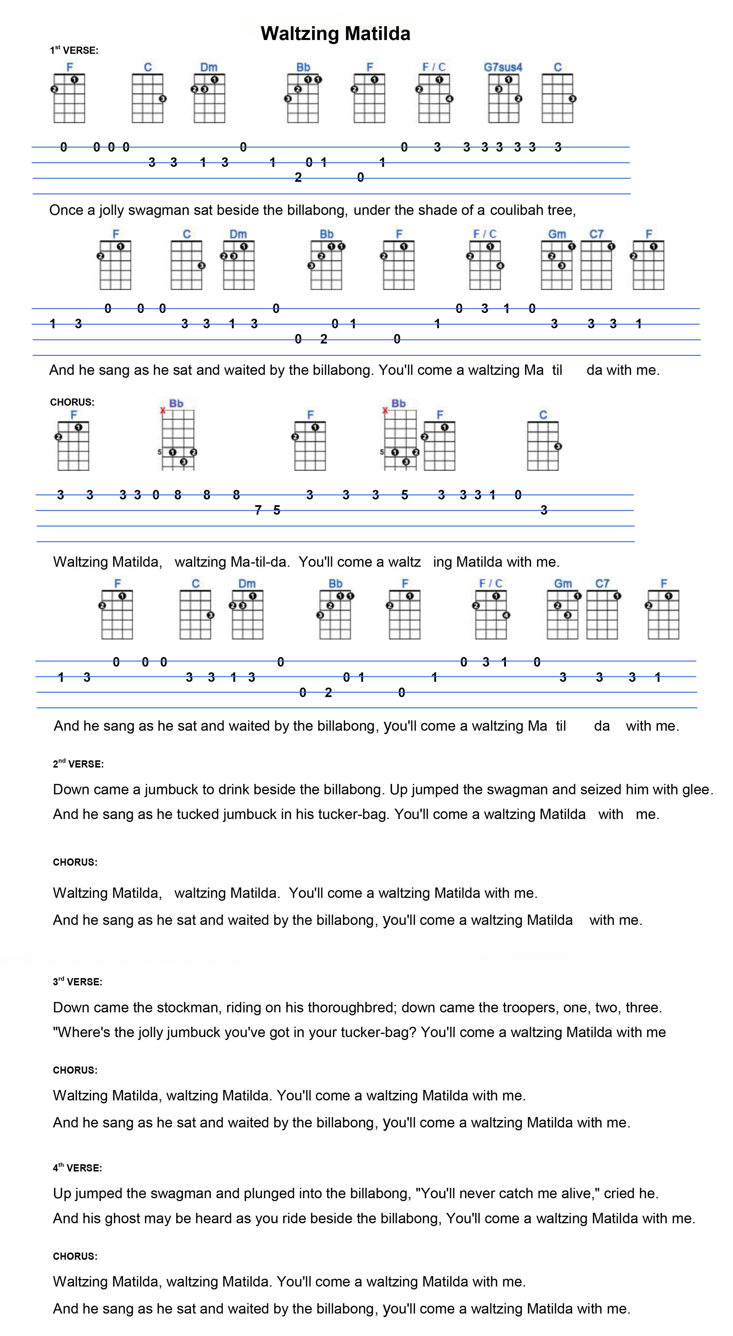 Waltzing Matilda Ukulele Ukulele Tabs Songs Ukulele Songs