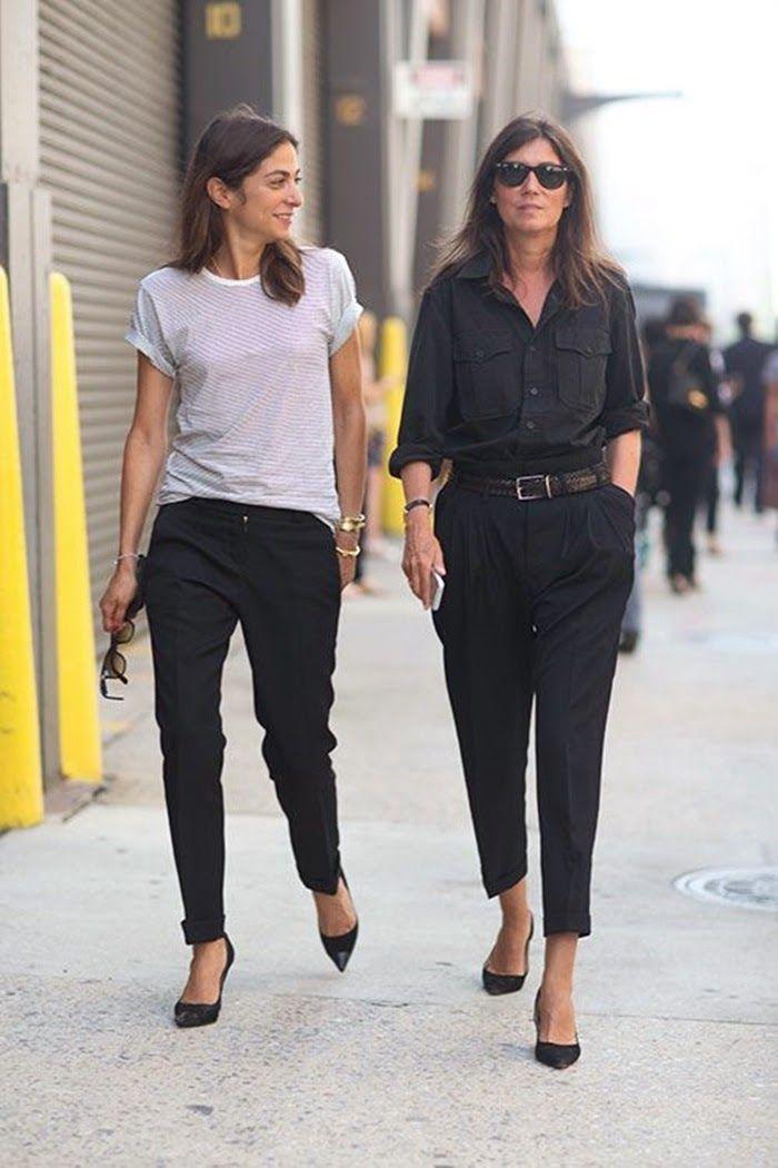 Emmanuelle Alt Black Top Pants New York Street Style Fashion Week Spring 2014