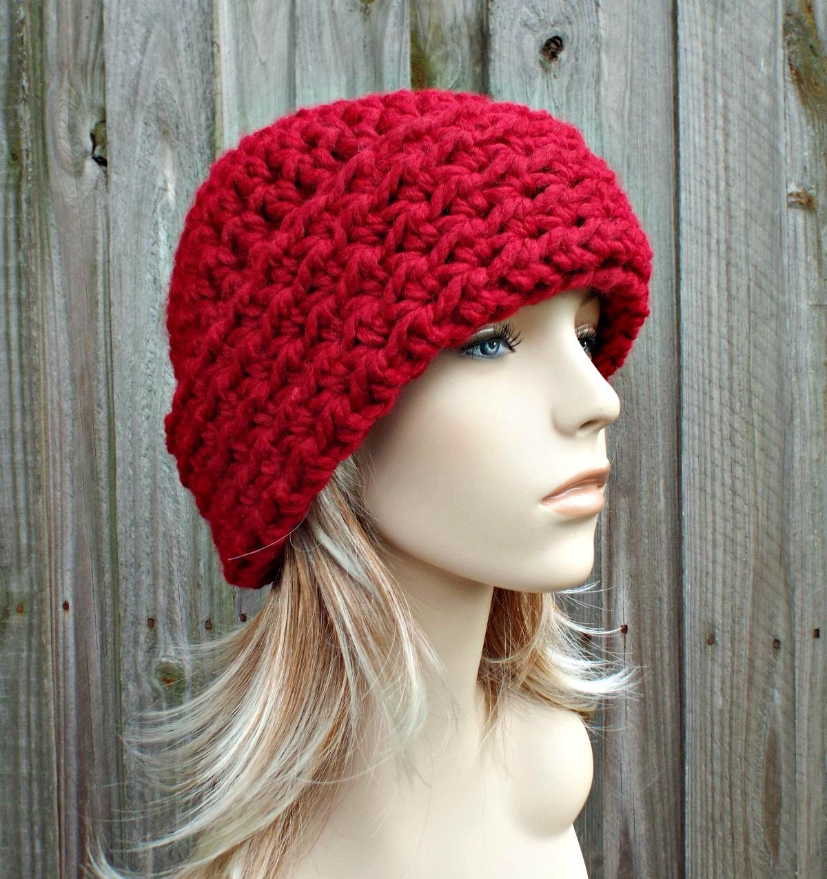 4daced5c27c Cranberry Red Womens Hat Red Mens Hat - Wide Cuff Beanie Hat Crochet Hat - Red  Hat Red Beanie Womens Accessories Winter Hat - READY TO SHIP by pixiebell  on ...