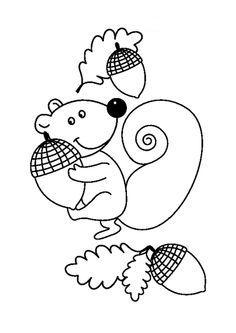 Kleurplaat Eekhoorn Met Eikeltjes Quilts Pinterest