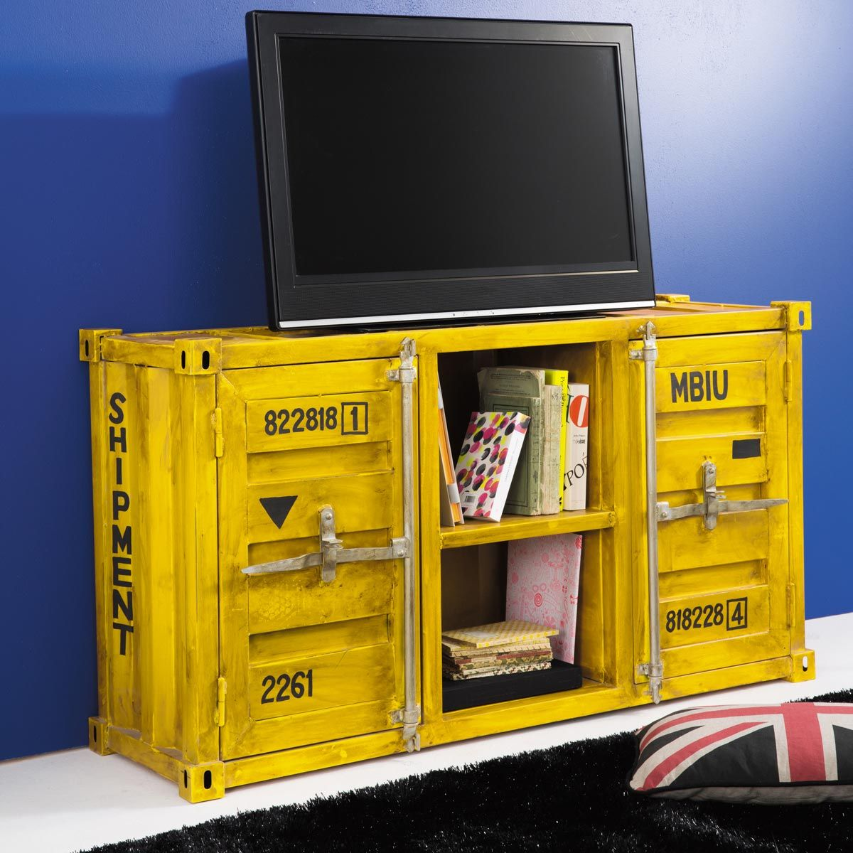 meuble tv container en m tal jaune l 129 cm pinterest. Black Bedroom Furniture Sets. Home Design Ideas
