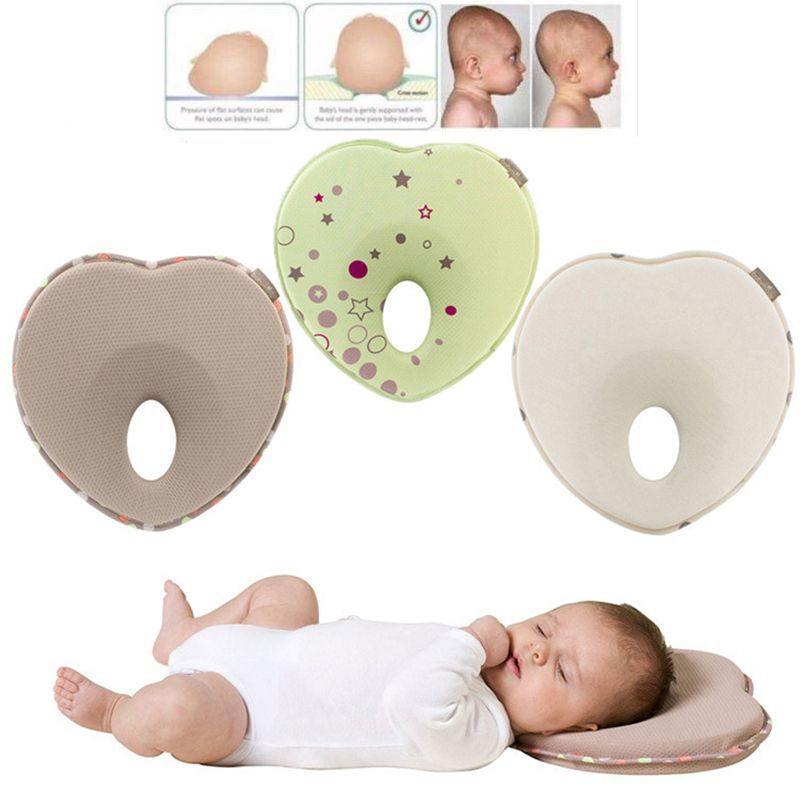 Baby Flat Head Anti Roll Sleep Neck Pillow Newborn Infant Soft Prevent Support