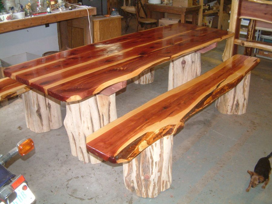 Red Cedar Picnic Table With Separate Benches By Thekingstreasures Lumberjocks Com Woodworking Community Wooden Picnic Tables Table Log Furniture