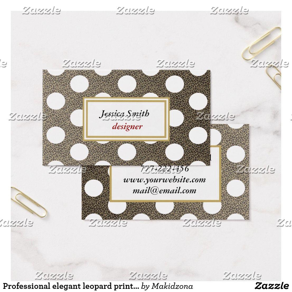 Professional elegant leopard print polka dots business card ...
