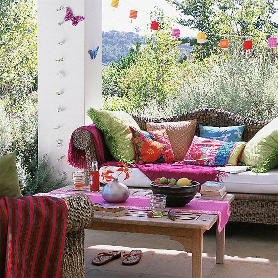 Colourful Garden Seating Area Ideal Home Outdoor Living Space Outdoor Rooms Moroccan Inspired Living Room