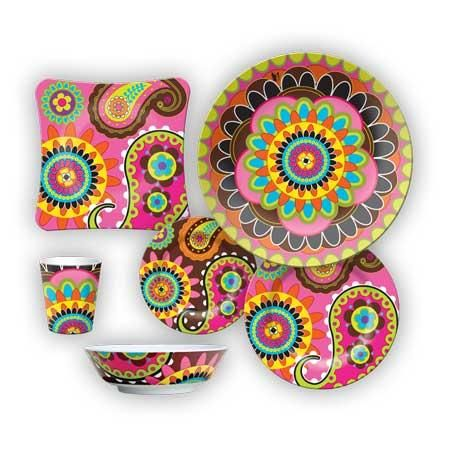 Funky dinner set this one is melamine but would be nice in porcelain kitchen ideas - Funky flatware sets ...
