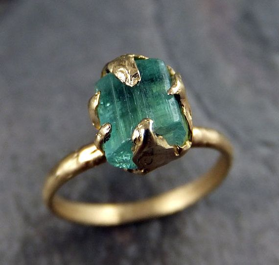 Raw Sea Green Tourmaline Gold Ring Rough Uncut by byAngeline, $585.00