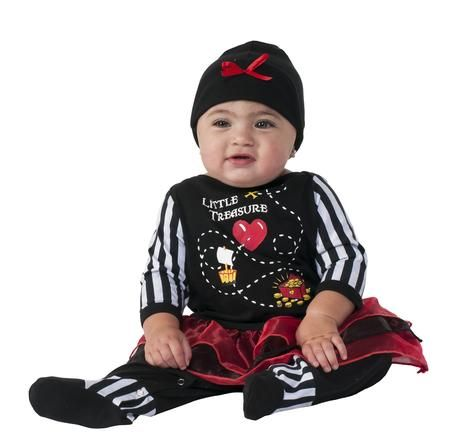 This Little Treasure Infant Pirate Costume is simple adorable. It includes black and white jumpsuit and headpiece. This cute Little Treasure Infant Pirate Costume comes in infant sizes.