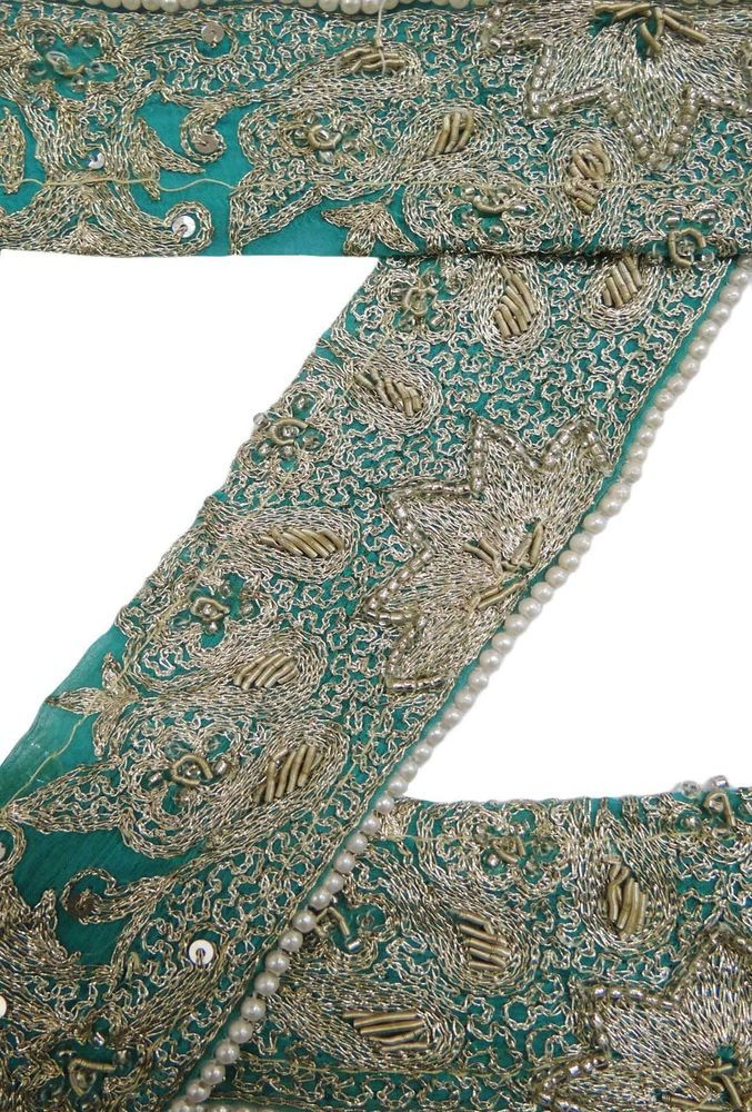 Vintage saree Border Indian Sari Trim Embroidered Blue Ribbon Lace Sewing 1Yd.
