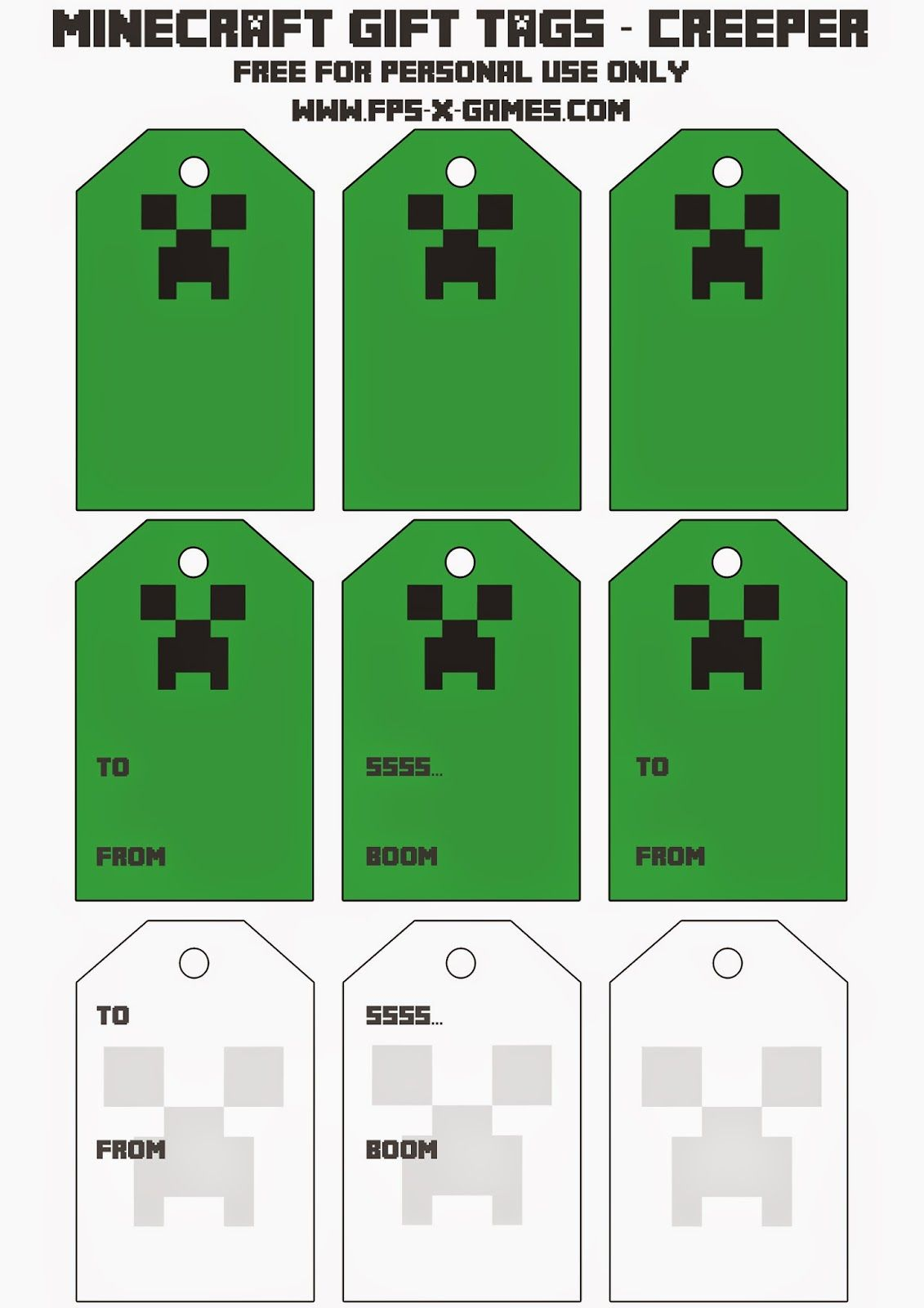 Printable minecraft creeper gift tags traktatie for Minecraft bookmark template