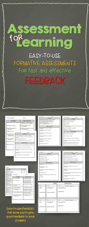 Assessment For Learning EasyToUse Checklists For Fast
