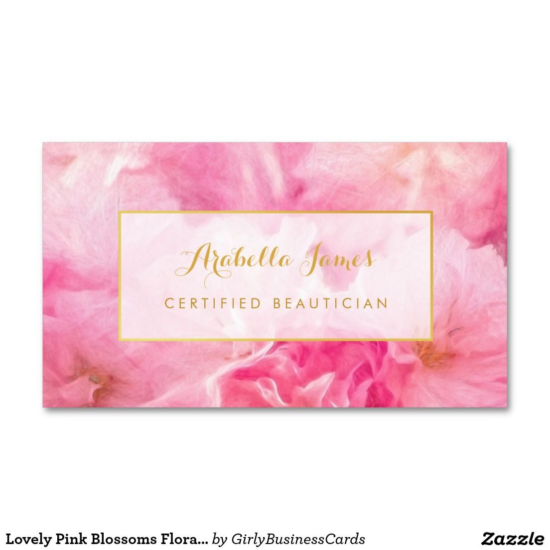 Lovely pink blossoms floral certified beautician business card lovely pink blossoms floral certified beautician business cards colourmoves