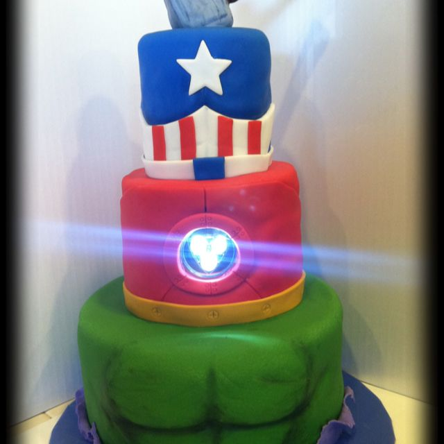 Avengers Cake complete with an Iron Man light Cakes and cupcakes