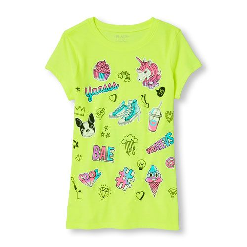 a96ce8a0b0 s Short Sleeve Emoji And Doodle Neon Graphic Tee - Yellow T-Shirt - The  Children s Place