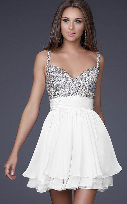 Jeweled Bust La Femme 16813 White Short Homecoming Dresses | Stylish ...